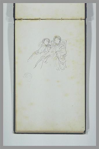 ISABEY Eugène : Deux femmes assises, de trois quarts vers la gauche, esquisse d'une tête