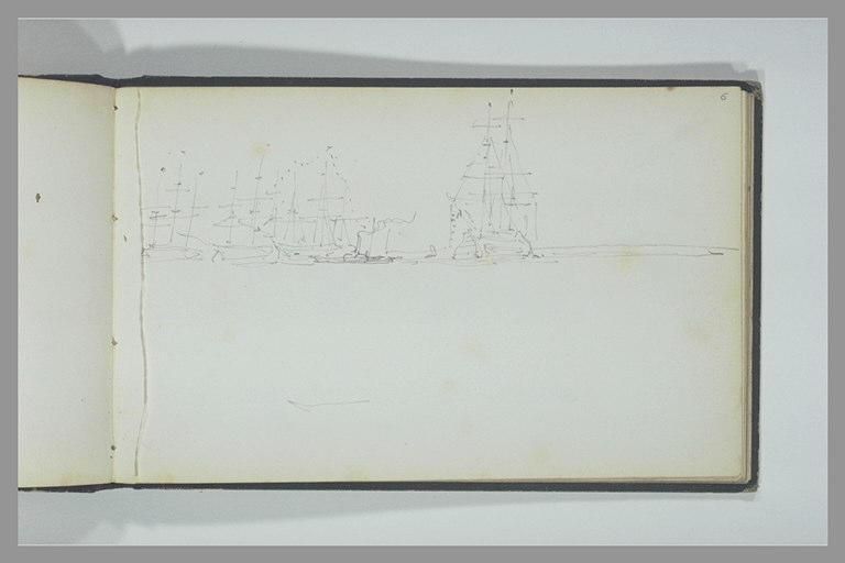 ISABEY Eugène : Trois voiliers et un vapeur auprès d'un trois-mâts