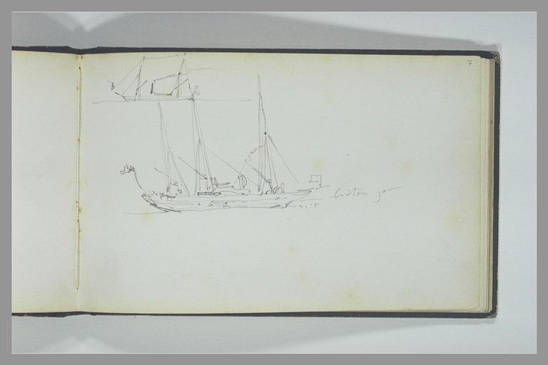 Deux esquisses de bateaux, vus de profil_0