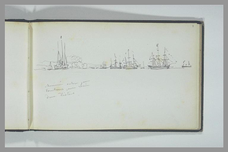 Trois-mâts tirant une salve d'artillerie auprès de sept autres bateaux