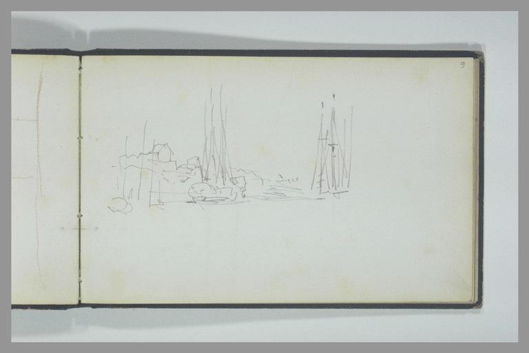 Deux trois-mâts et un autre bateau à l'amarre près du rivage