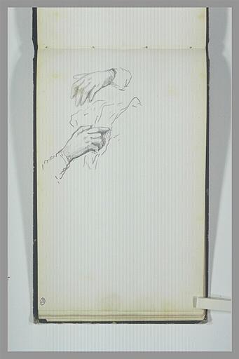 Deux mains, la gauche tenant un linge