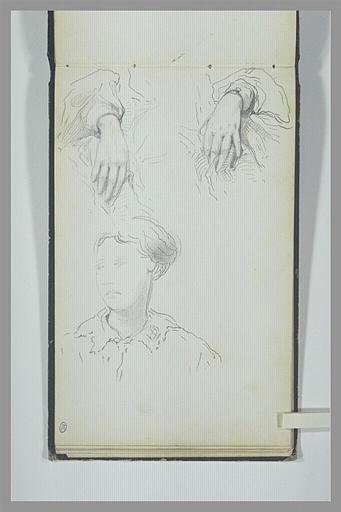 Etudes des mains et du buste d'une jeune femme, la tête de trois quarts