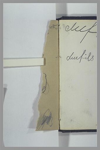 ISABEY Eugène : Essai de crayon et fragment d'inscription