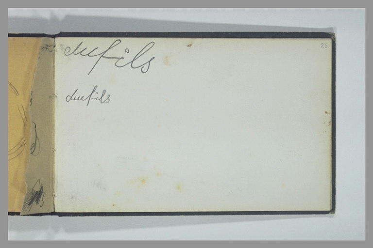 ISABEY Eugène : Note manuscrite : dufils (répété deux fois)