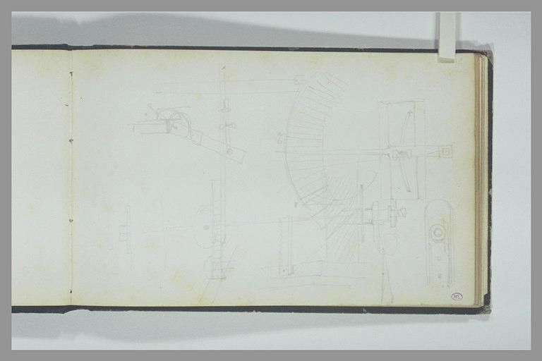ISABEY Eugène : Croquis techniques avec un cadran gradué et une aiguille