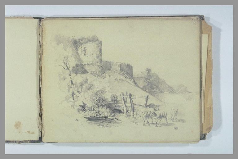 Paysage, ruines et moutons