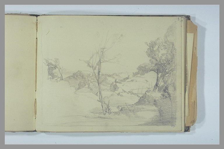 DEGAS Edgar : Paysage panoramique avec deux tours et arbre à droite