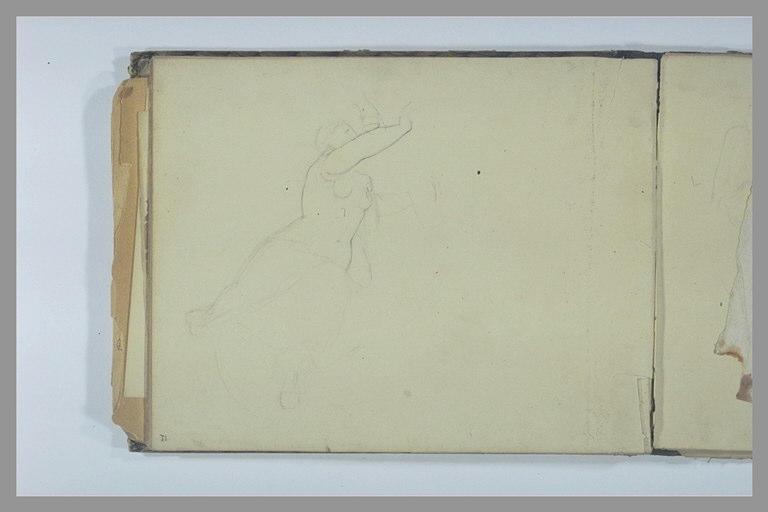 DEGAS Edgar : Etude de femme, les bras levés et sabot de cheval