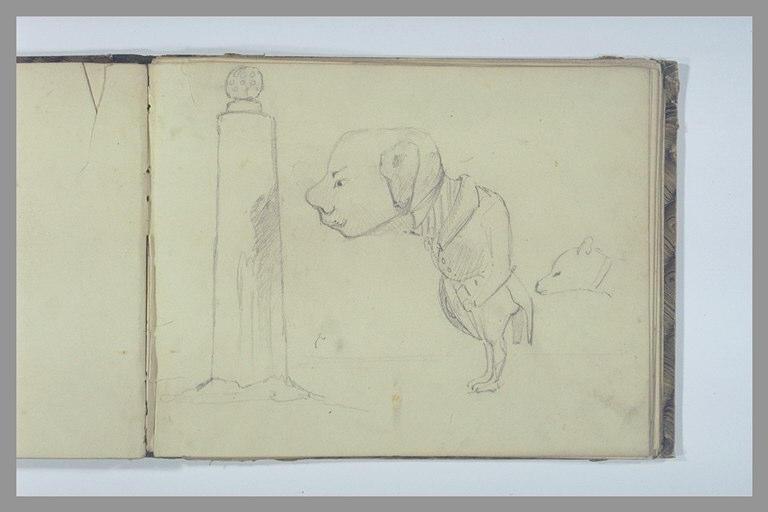 Caricature, homme avec une tête de chien et colonne_0