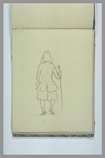 Homme debout, de dos, en costume du XVIIe ou du XVIIIe siècle