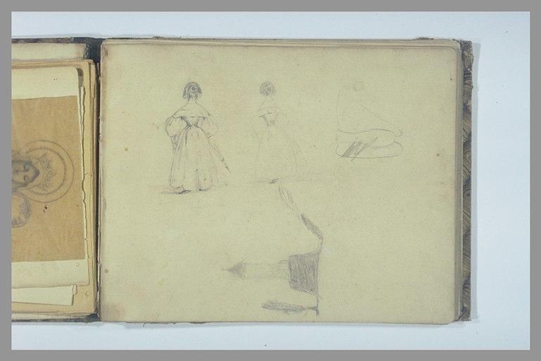 Deux études de jeunes femmes, vues de dos ; tour et arbre ; croquis
