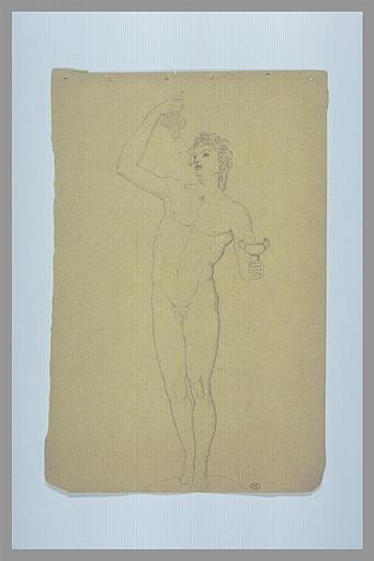 Bacchus nu, debout, tenant une grappe et une coupe, d'après l'antique