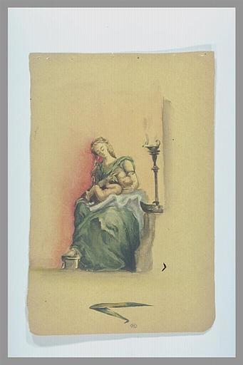 Femme allaitant un enfant et notes manuscrites en bas