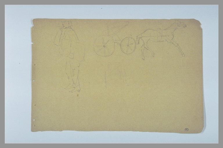 Homme debout de profil ; cheval attelé à une cariole ; voiture, de dos_0