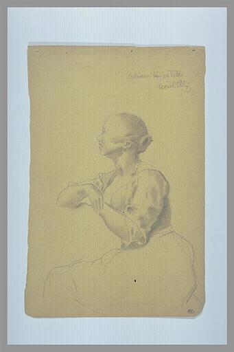 Femme, assise, à mi-corps, regardant vers la gauche