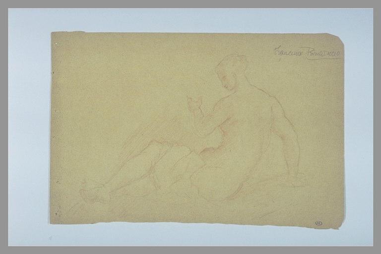 Femme nue, assise à terre, une draperie sur les jambes : une naïade