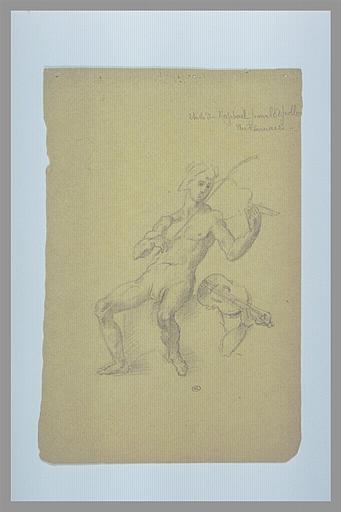 DEGAS Edgar, SANTI Raffaello (inspiré par), RAPHAEL (dit, inspiré par) : Apollon jouant de la viola (ou lira) da Braccio, reprise (bras et viola)