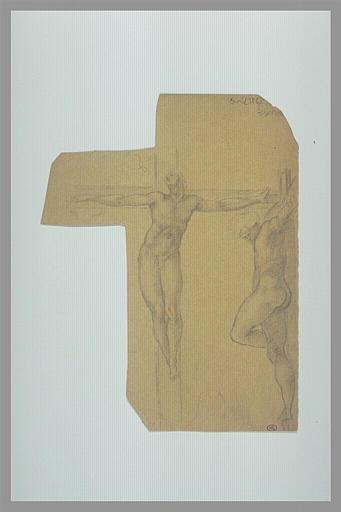Crucifié, vu de face ; crucifié, vu de profil