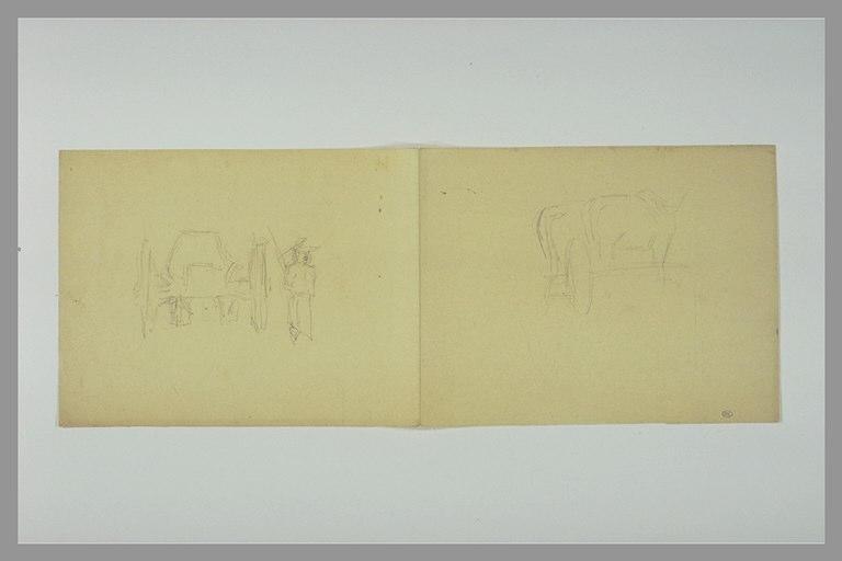 DEGAS Edgar : Figure près d'une charette, deux boeufs et une roue de charette