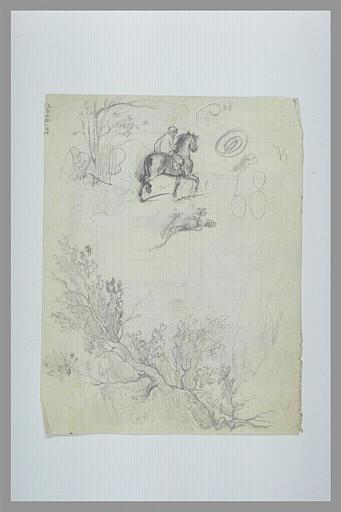 DEGAS Edgar : Etude de branchages, d'un cavalier et d'un paysage avec un arbre
