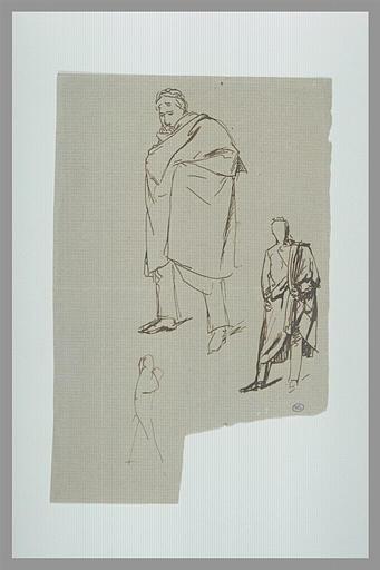 DEGAS Edgar : Deux études d'hommes debout vêtus d'un manteau et croquis pour une figure