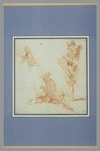 anonyme : Manche, soldat en armure, debout, de trois quarts, guerrier couronné assis