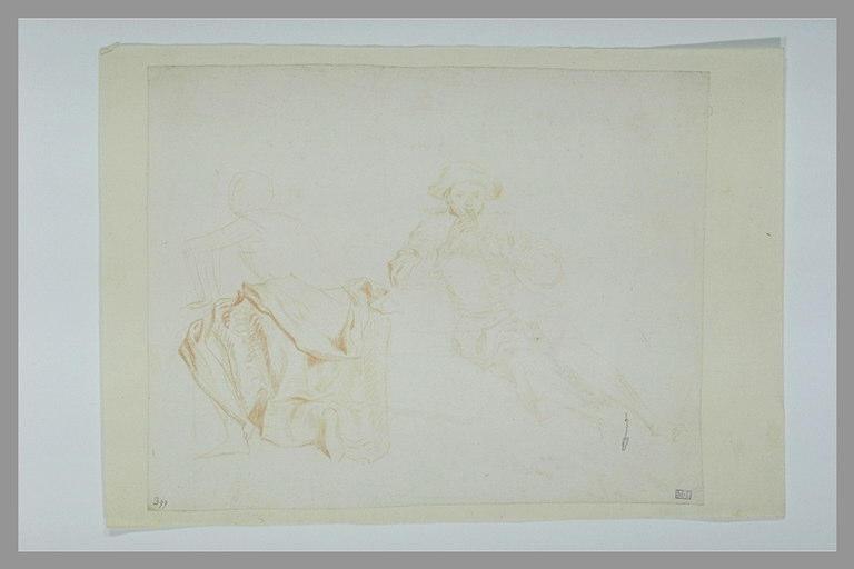 anonyme : Figure drapée, un genou à terre, de dos, musicien assis, jouant de la flûte