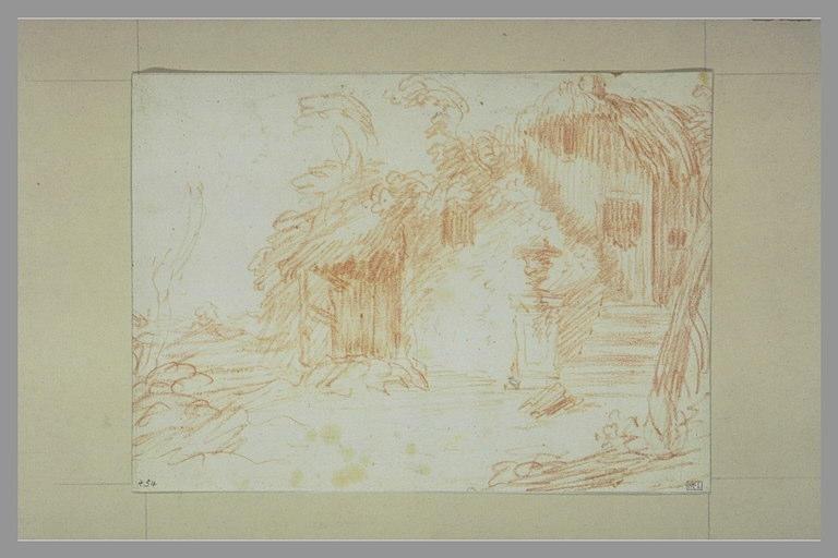 PATER Jean-Baptiste Valenciennes : Chaumière avec un vase sur un socle
