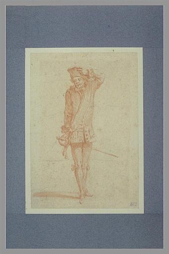 anonyme : Soldat, debout, portant la main à son chapeau, et tenant une épée
