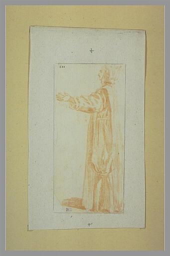 WATTEAU Antoine : Chartreux debout, de profil vers la gauche
