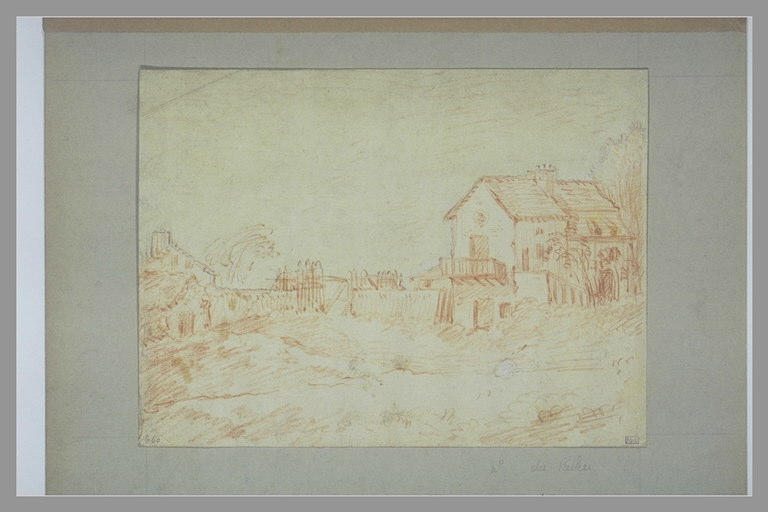 PATER Jean-Baptiste Valenciennes (d'après), anonyme : Groupe de maisons entouré d'une palissade