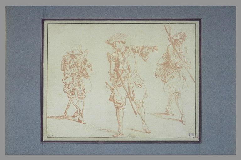 Trois études de soldats, celui du centre a le bras gauche tendu