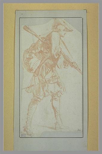 WATTEAU Antoine : Soldat armé d'un fusil et d'une épée, marchant vers la droite