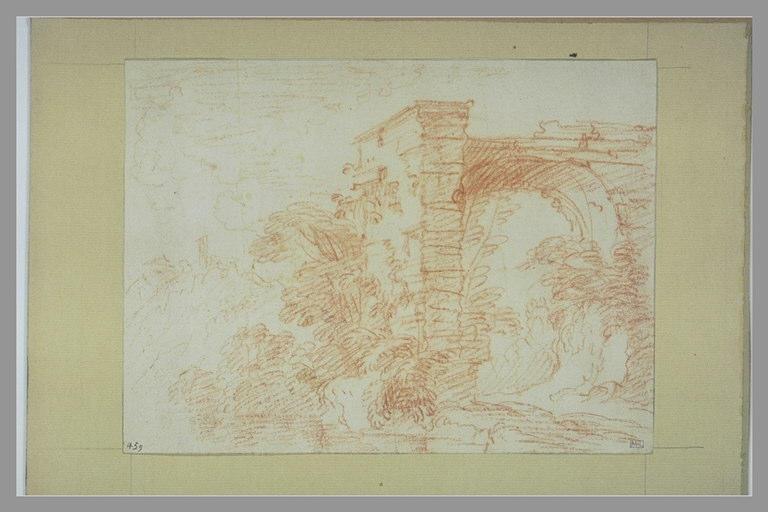 LEMOYNE François (d'après), anonyme : Paysage avec un mur et une arcature