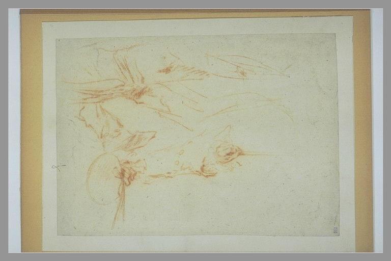 Peintre tenant sa palette de la main droite ; sa main gauche sur une canne