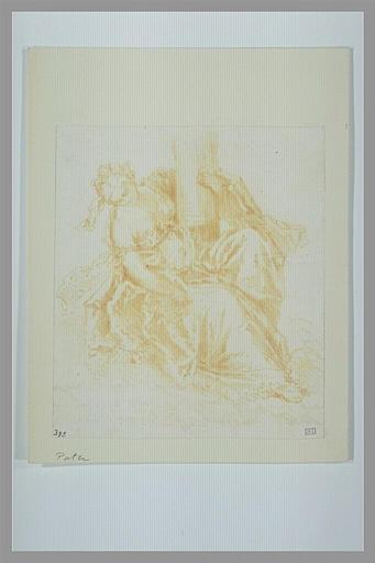 anonyme : Femme, assise, tenant une colonne : la Force ou la Constance