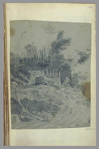 anonyme : Paysage avec un temple rond en ruines
