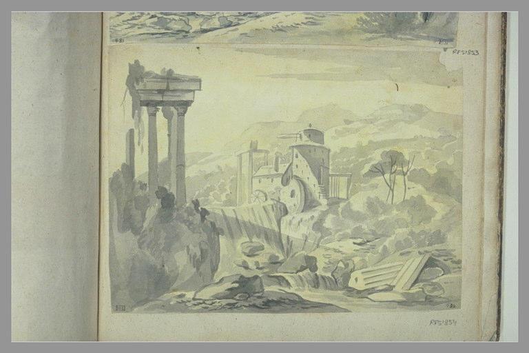 anonyme : Paysage avec une fabrique et des ruines le long d'un cours d'eau