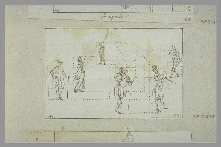 Six figures en perspective reliées par des pointillés