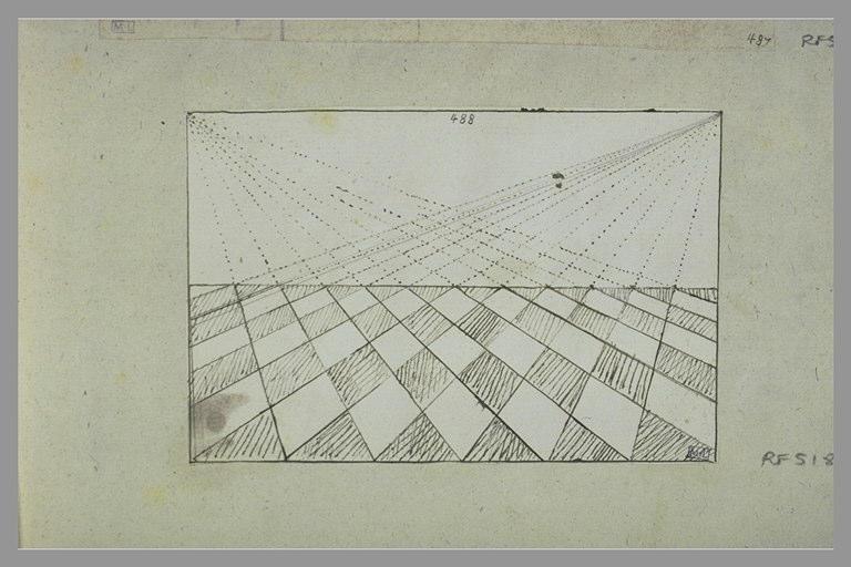 Croquis géométrique avec motif de damier en perspective
