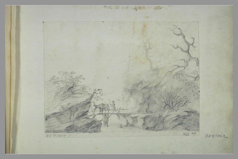Paysage avec un homme et une vache sur un pont de bois_0