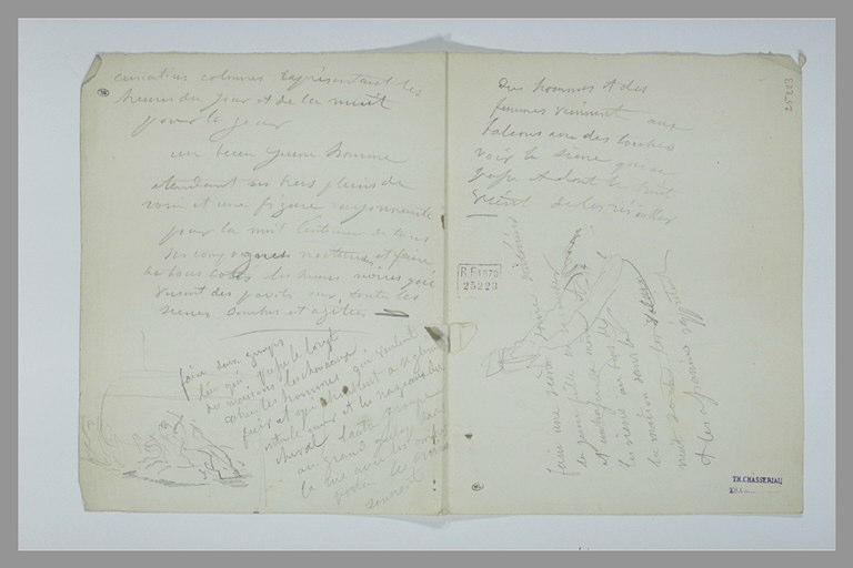 CHASSERIAU Théodore : Texte manuscrit