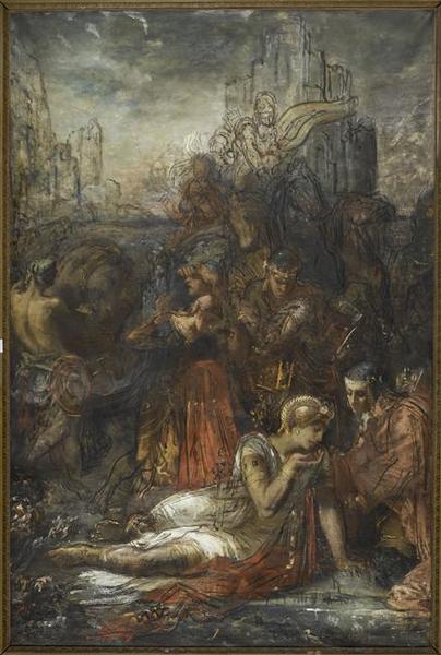 Darius, fuyant après la bataille d'Arbelles, s'arrête, épuisé de fatigue, pour boire dans une mare_0