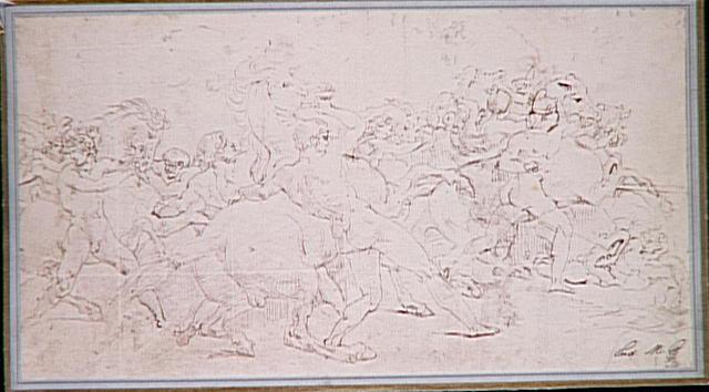 Reproduction d'un dessin de Géricault, La Course de chevaux libres à Rome_0