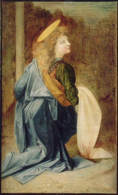 Copie de l'Ange de Léonard de Vinci dans le Baptême du Christ d'Andréa del Verrocchio à Florence_0