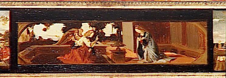 Copie de trois prédelles : La barque de Saint-Pierre par A. Doman ; Annonciation par Léonard de Vinci et La Résurrection de l'école florantine du 15e siècle_0