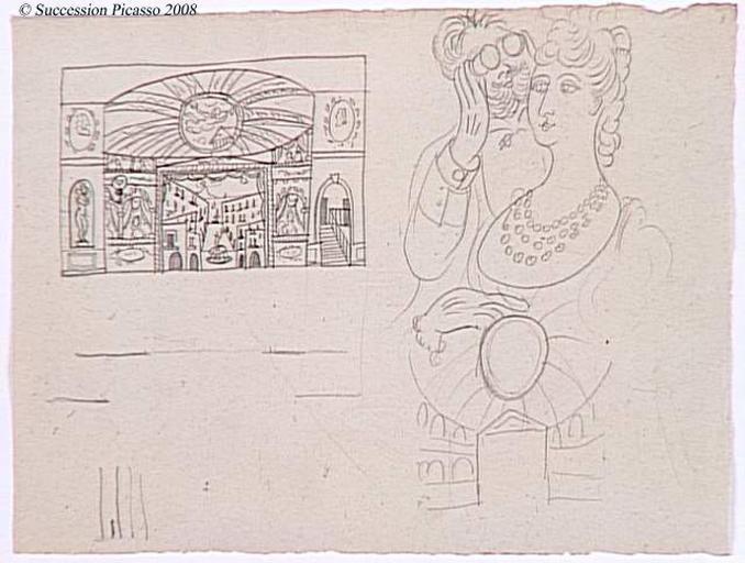 Feuille d'études pour Cuadro flamenco : décor et spectateurs d'une loge_0