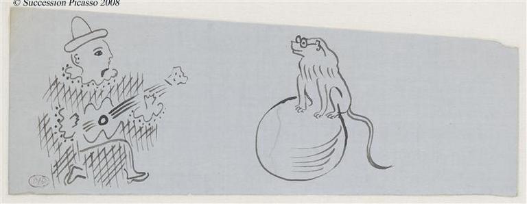 Scène de cirque : clown blanc jouant de la guitare et singe sur une boule ; (projet pour une timbale)_0