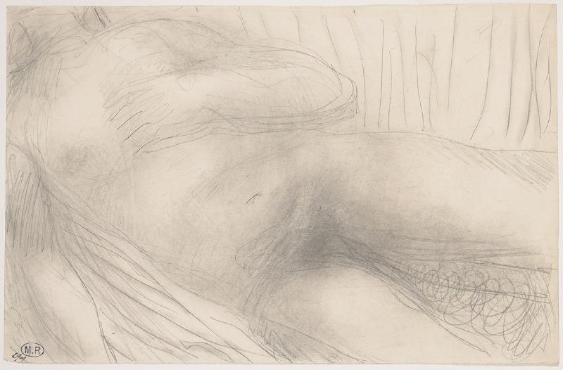 Torse de femme nue allongée, une main sur la poitrine_0